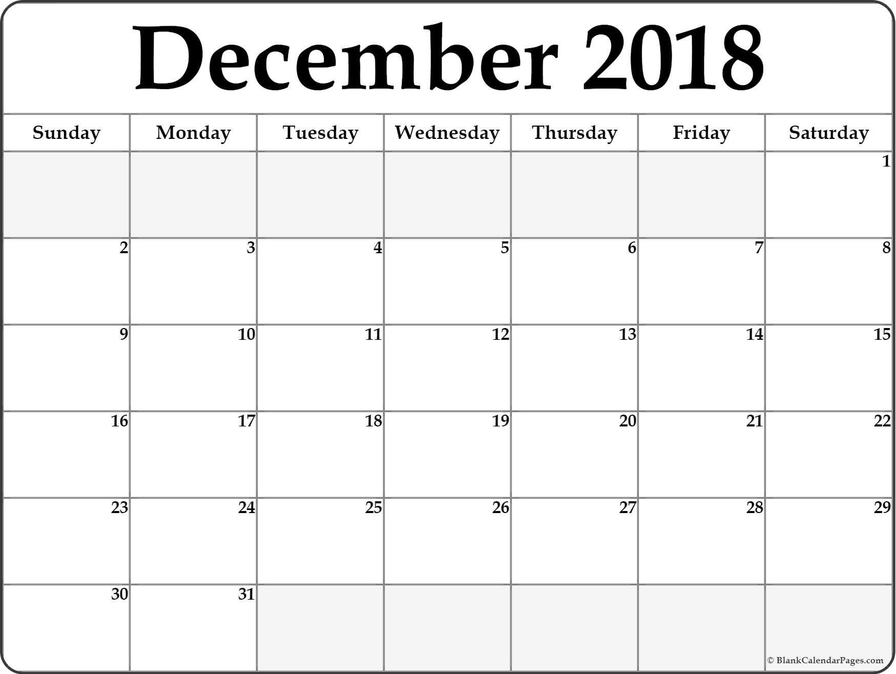 December 2018 Blank Calendar . December 2018 Calendar Printable with regard to Blank Dec Calendar Pages