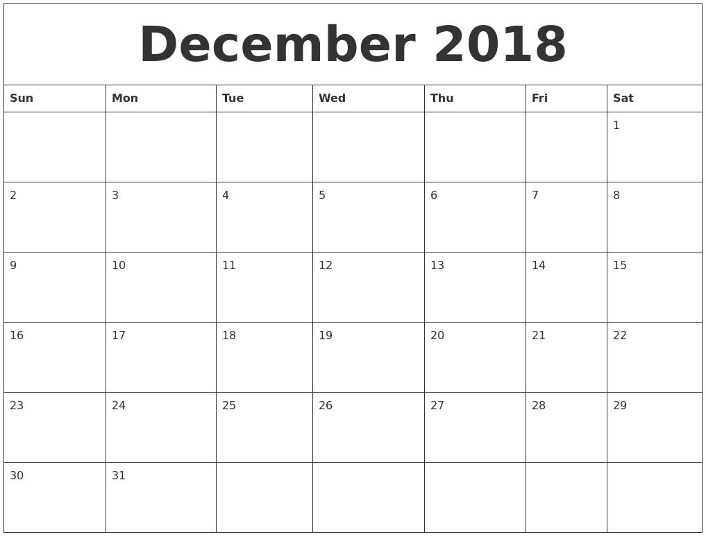 December 2018 Blank Calendar Printable within Blank December Calendar Printable
