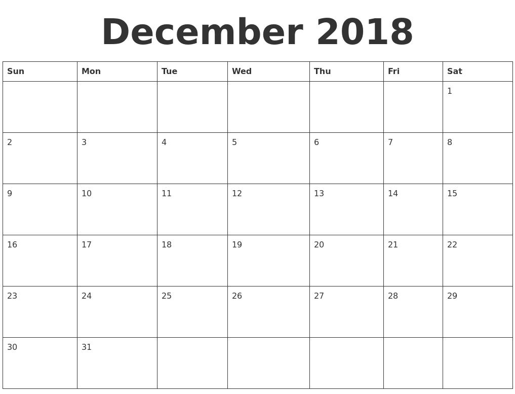 December 2018 Blank Calendar Template intended for Blank Calendar Printable December Template