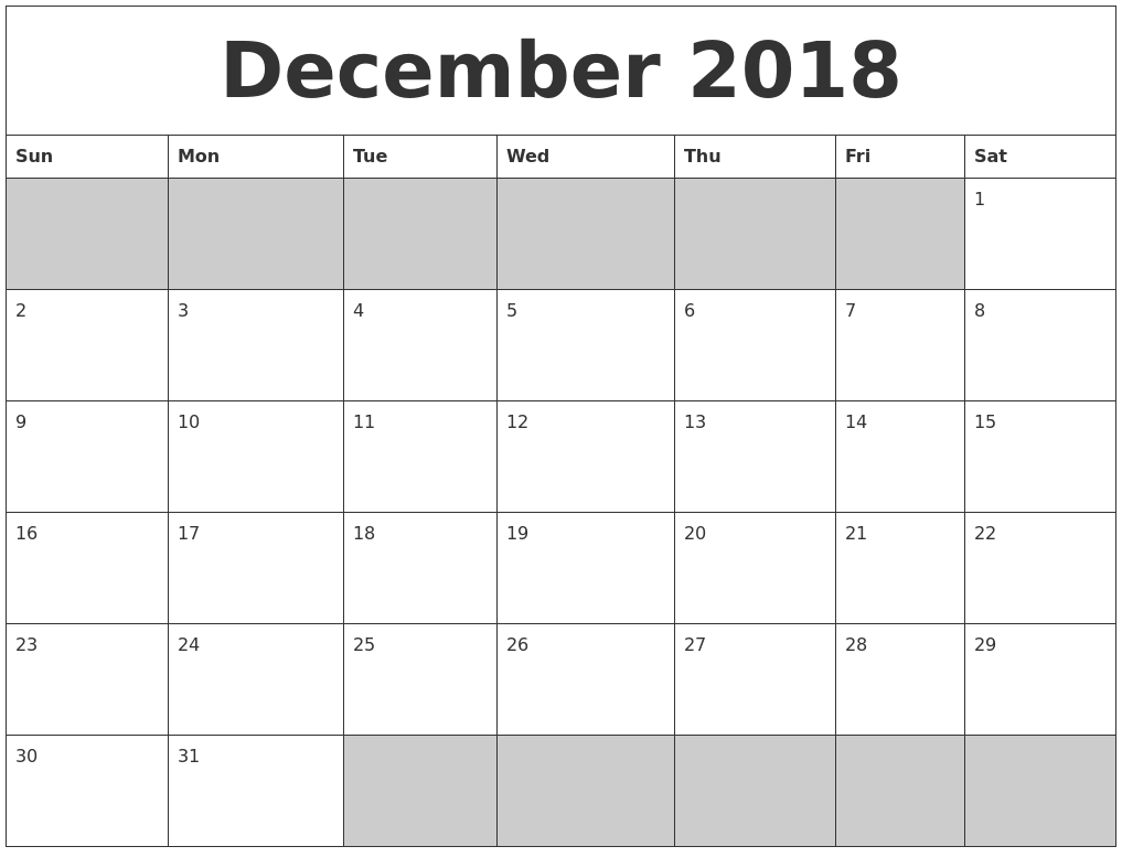 December 2018 Blank Printable Calendar in Blank Printable Calendar December