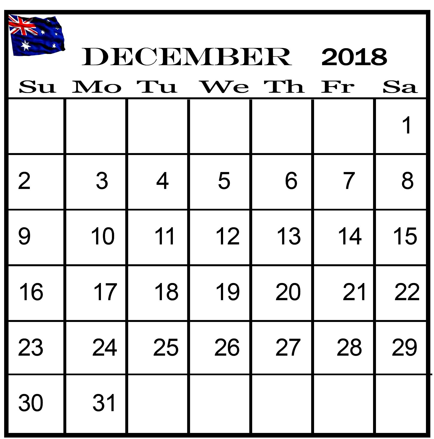 December 2018 Calendar Australia National Holidays | 100+ December in National Day Calendar Blank