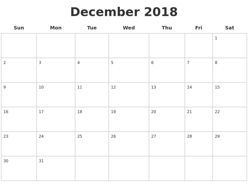 December 2018 Calendar Excel - Free Printable Calendar, Blank intended for December Blank Calendar Page Printable