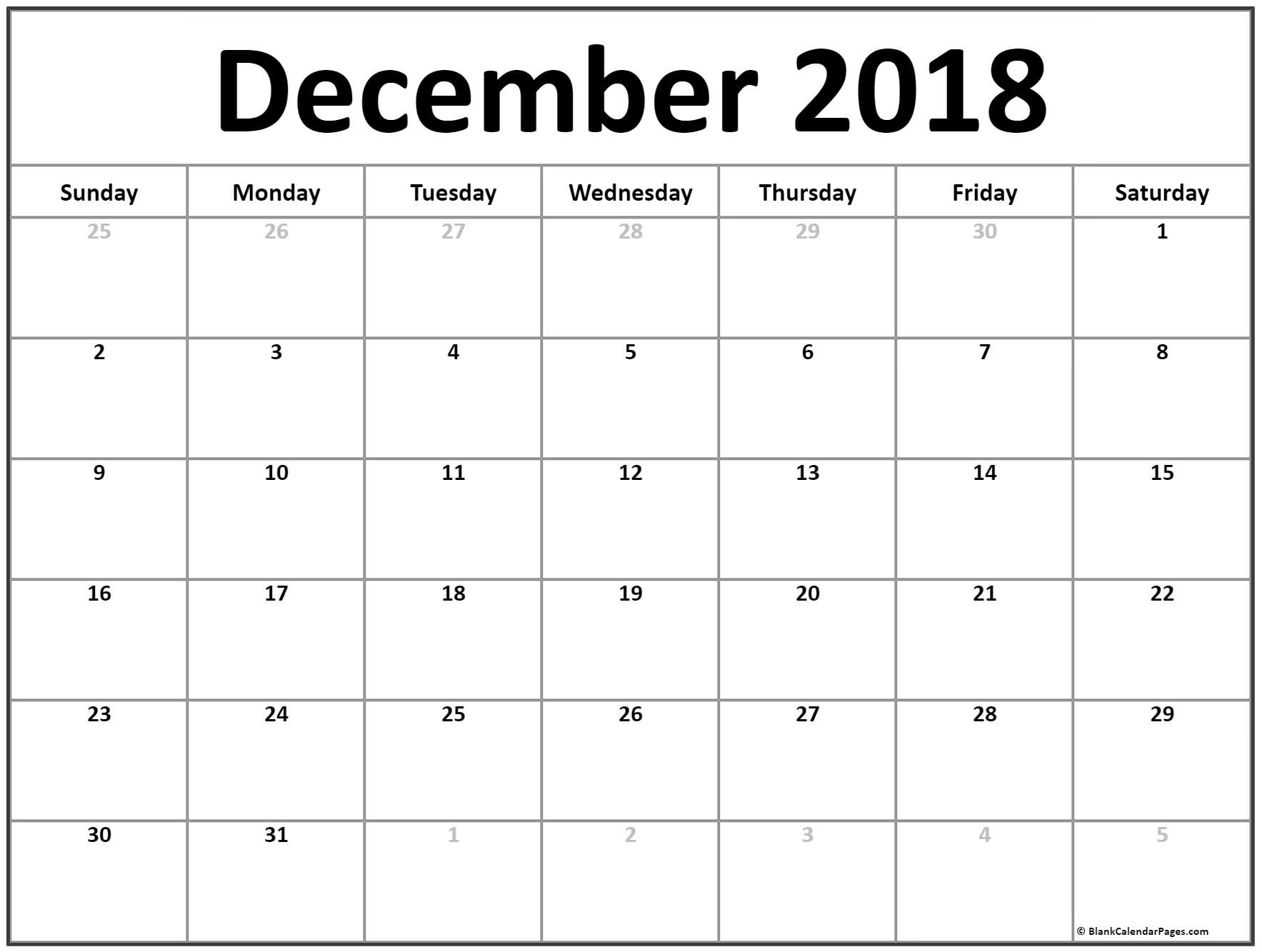 December 2018 Calendar | Free Printable Monthly Calendars for Blank Bold December Calendar