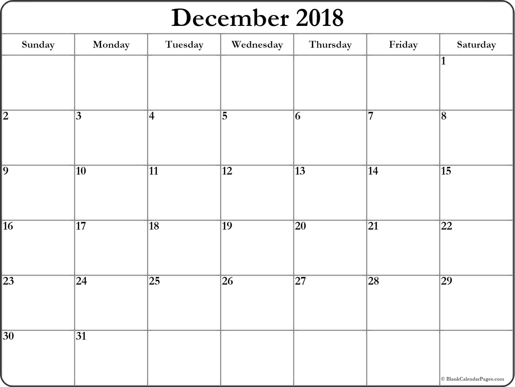 December 2018 Calendar | Free Printable Monthly Calendars inside Blank Monthly Calendar Dec