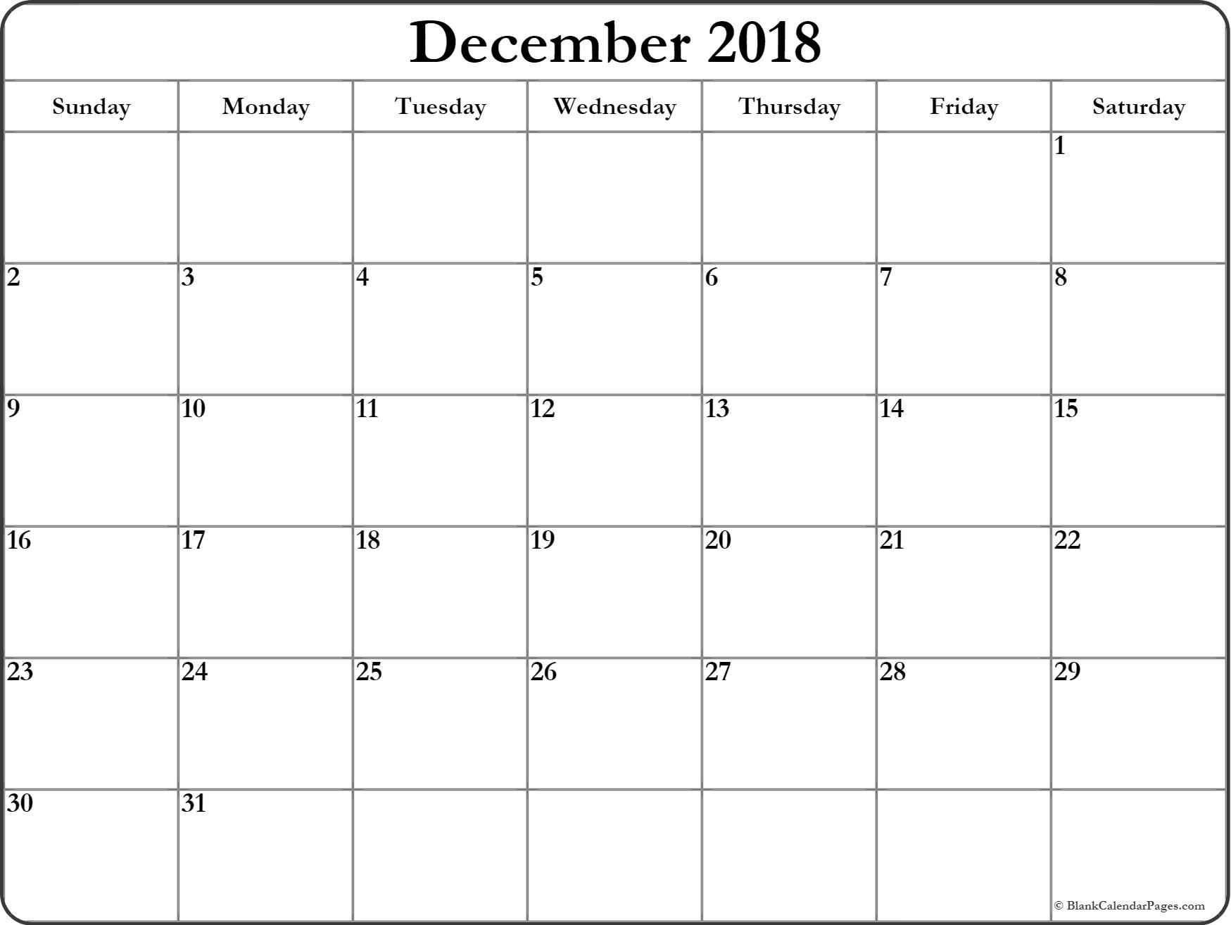 December 2018 Calendar | Free Printable Monthly Calendars regarding Blank Calendars December Printable