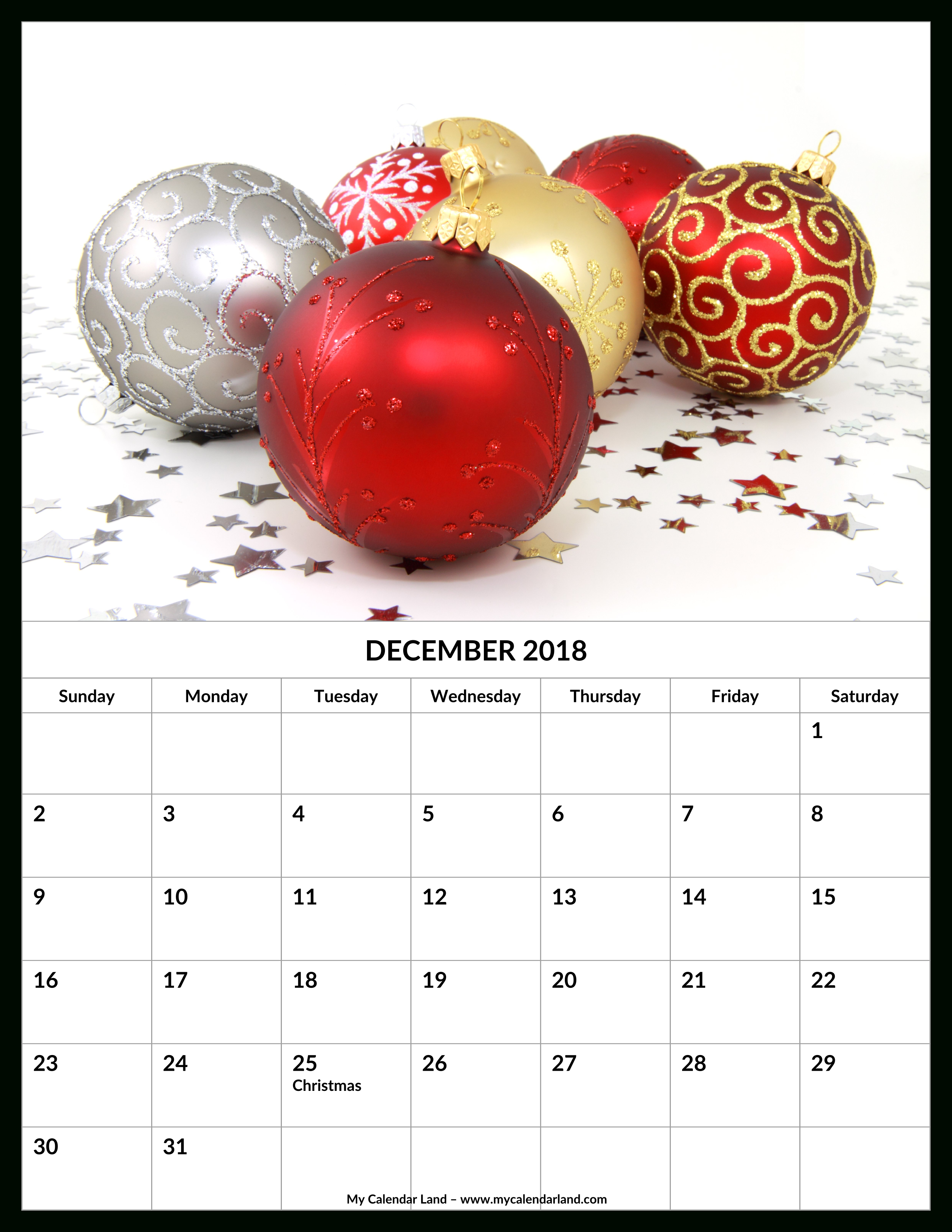 December 2018 Calendar - My Calendar Land for Christmas Themed Calendar Templates