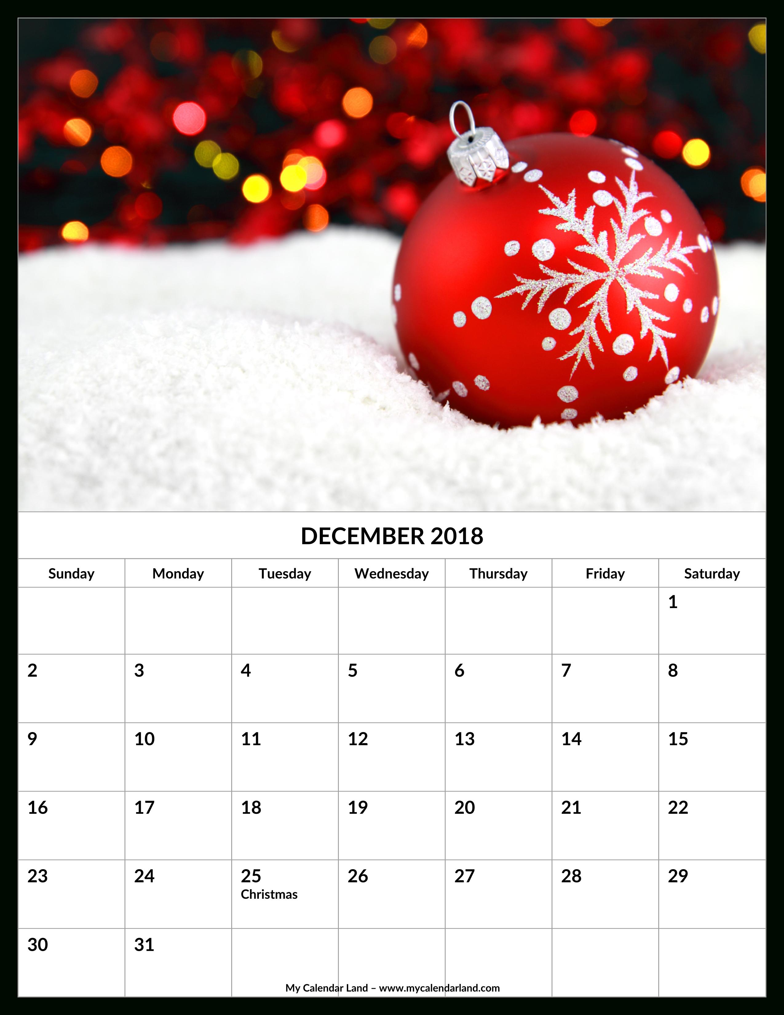 December 2018 Calendar - My Calendar Land inside Christmas Themed Calendar Templates