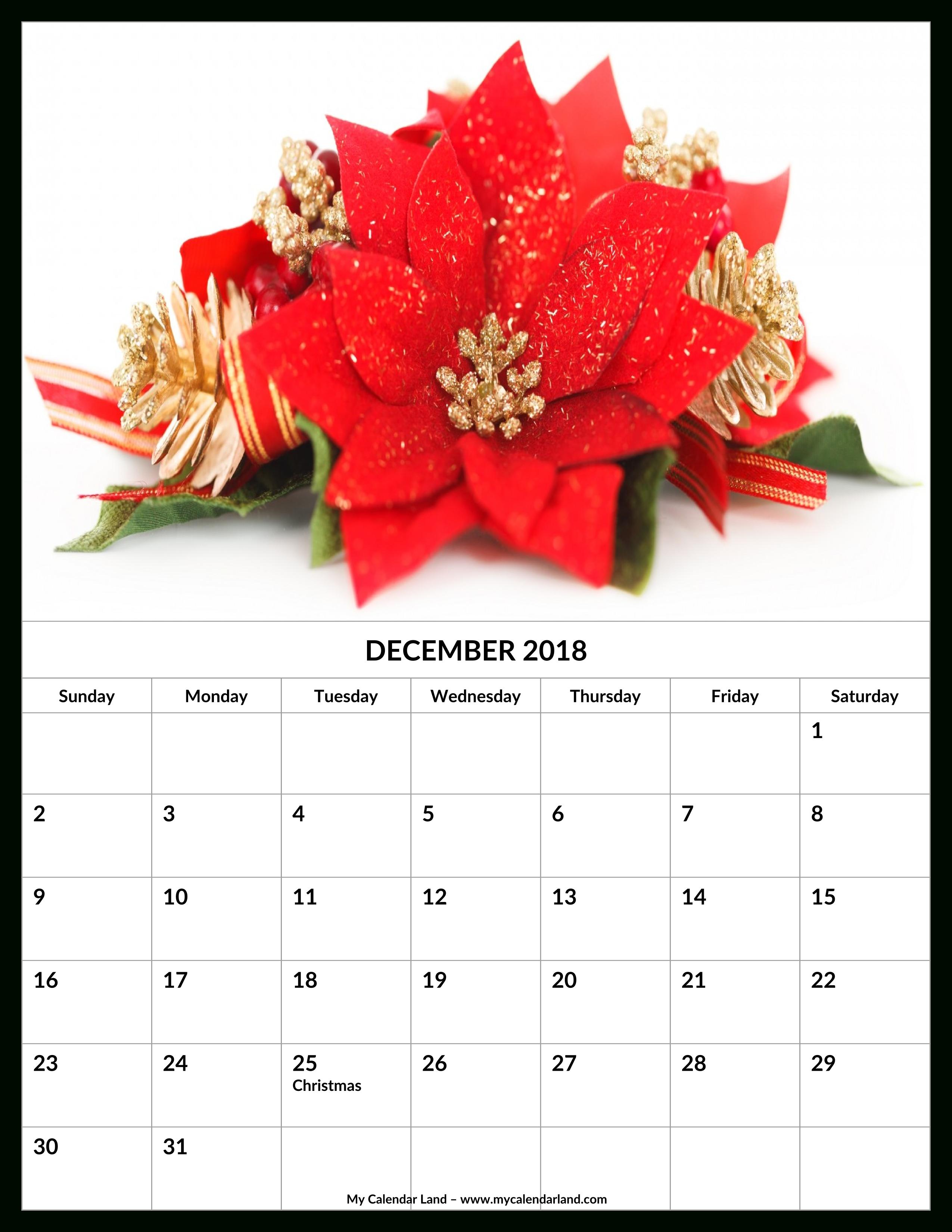December 2018 Calendar - My Calendar Land regarding Christmas Themed Calendar Templates