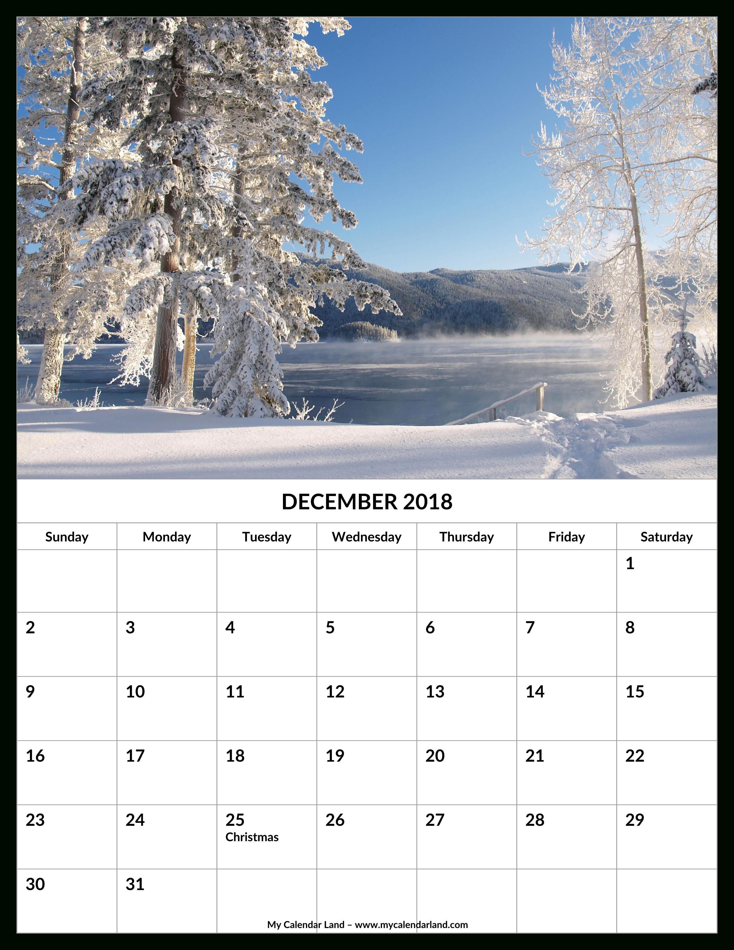 December 2018 Calendar - My Calendar Land within Christmas Themed Calendar Templates