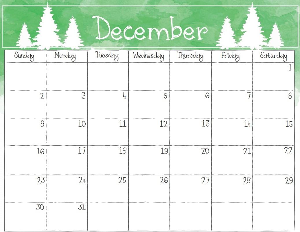 December 2018 Calendar Page throughout December Blank Calendar Printable