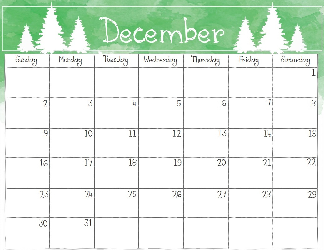December 2018 Calendar Page within Blank December Calendar Printable