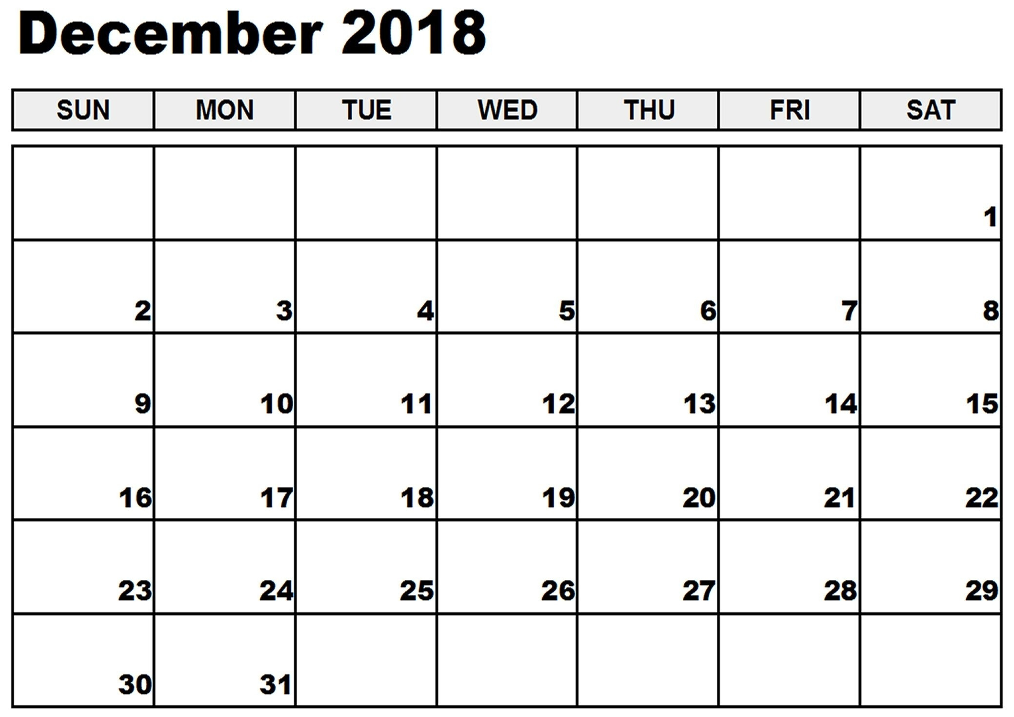 December 2018 Calendar Pdf Printable Template - Printable Calendar for Dec Calendar Printable Template