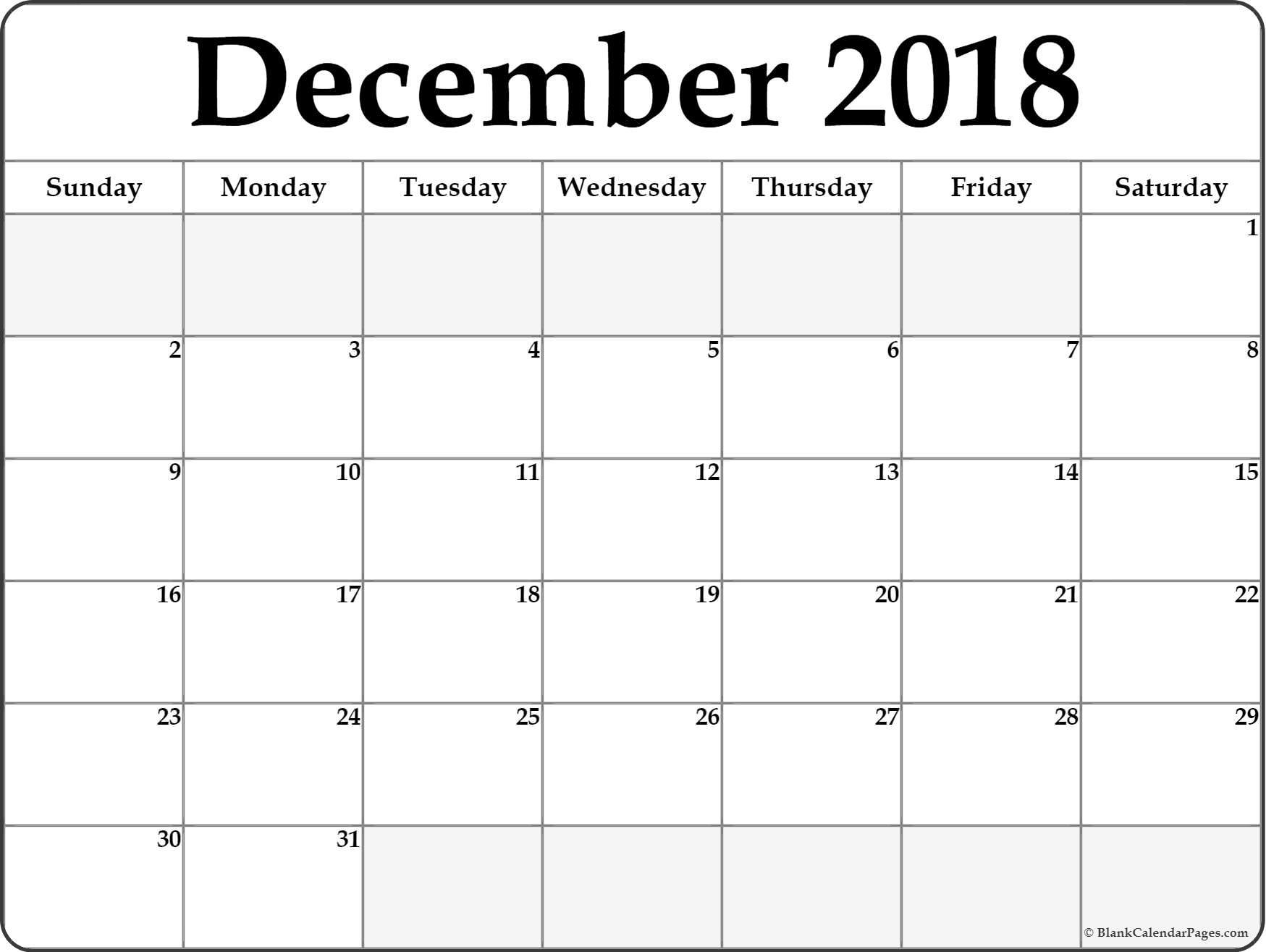December 2018 Calendar Printable- Free Templates - Printable with regard to Dec Calendar Printable Template