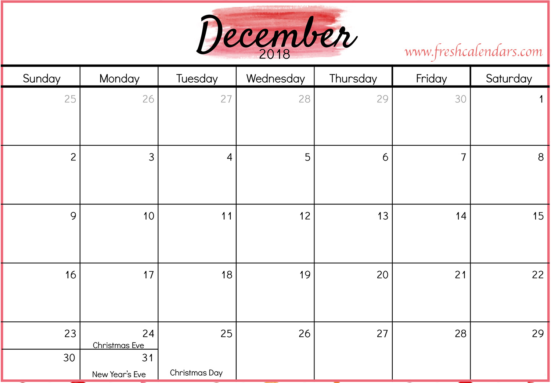 December 2018 Calendar Printable - Fresh Calendars for Christmas Themed Calendar Templates
