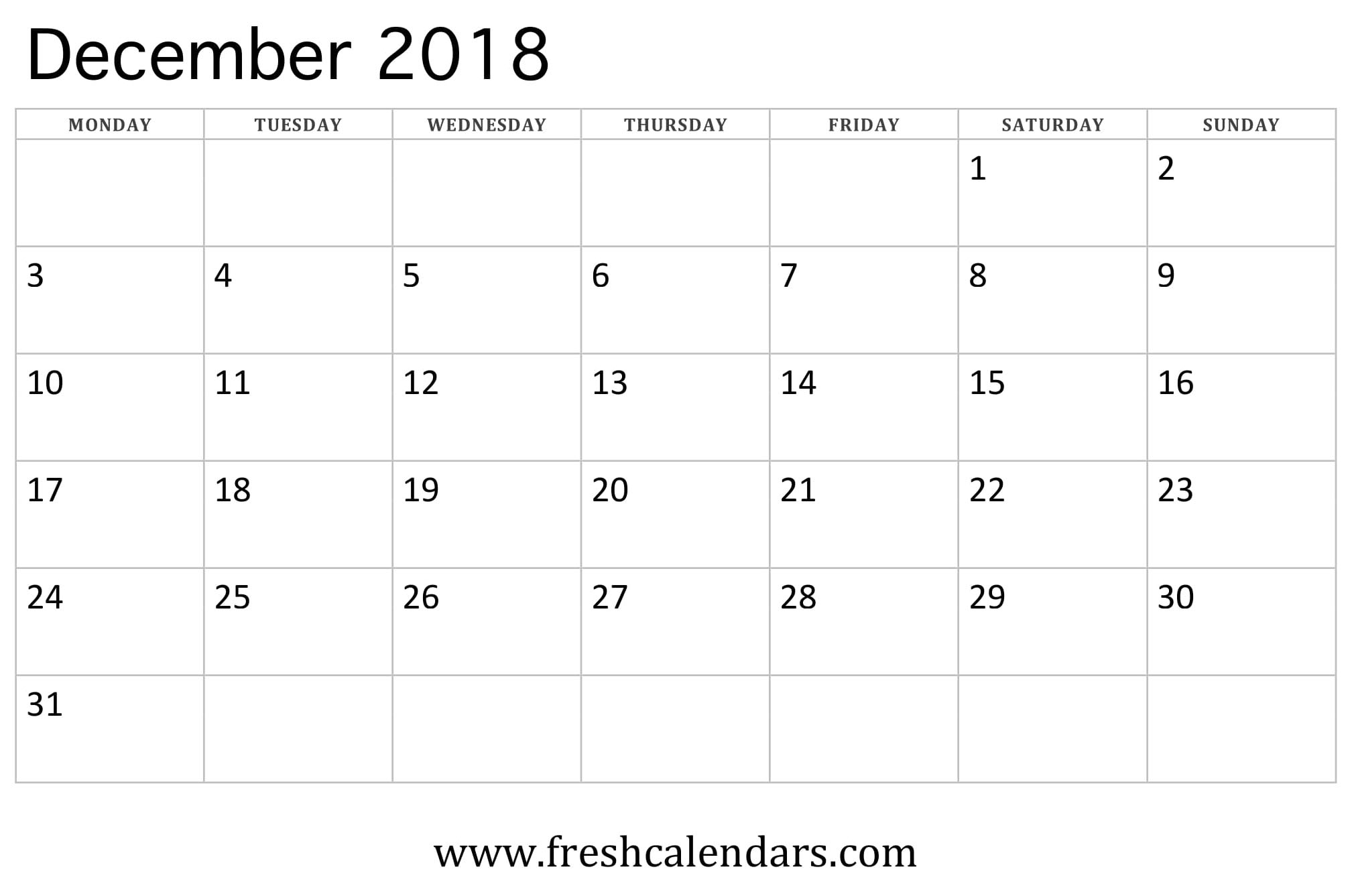 December 2018 Calendar Printable - Fresh Calendars intended for Blank Monthly Calendar Dec