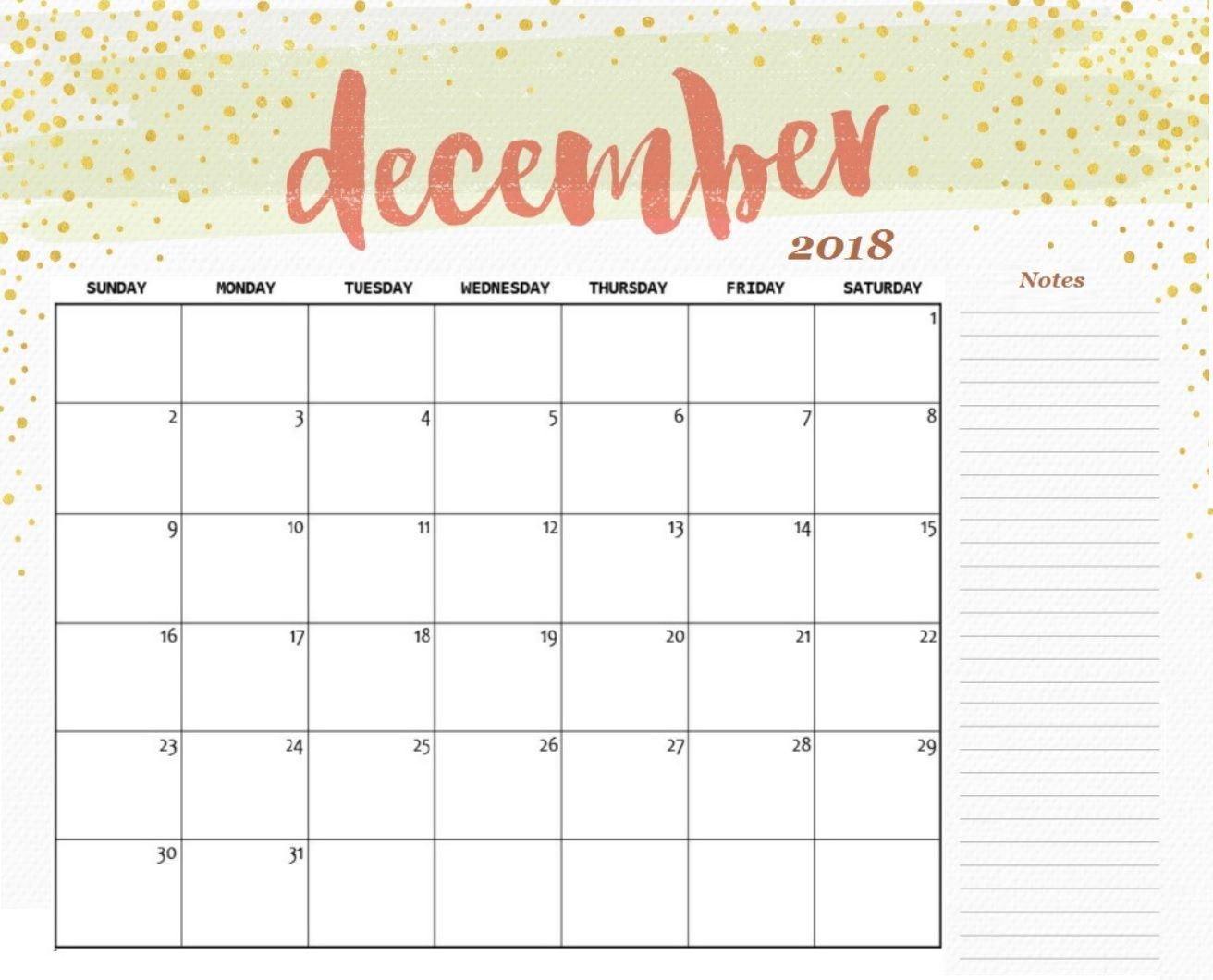 December 2018 Calendar Printable Template | 100+ December 2018 throughout December Blank Calendar Page Printable