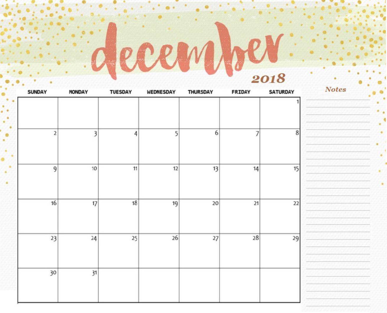 December 2018 Calendar Printable Template | 100+ December 2018 with December Blank Monthly Calendar
