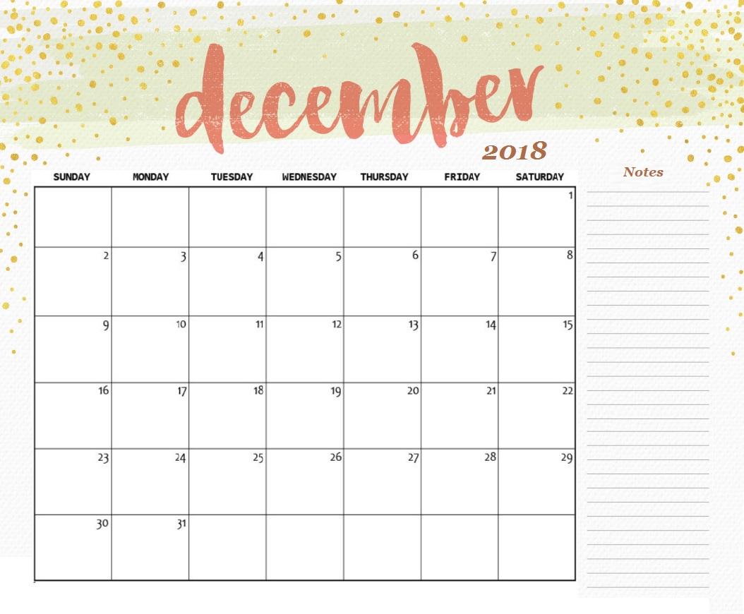 December 2018 Calendar Printable with regard to Blank Calendar Template December