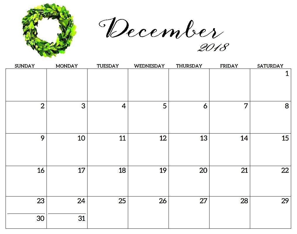 December 2018 Calendar Template Hourly Printable Calendar in Dec Calendar Printable Template