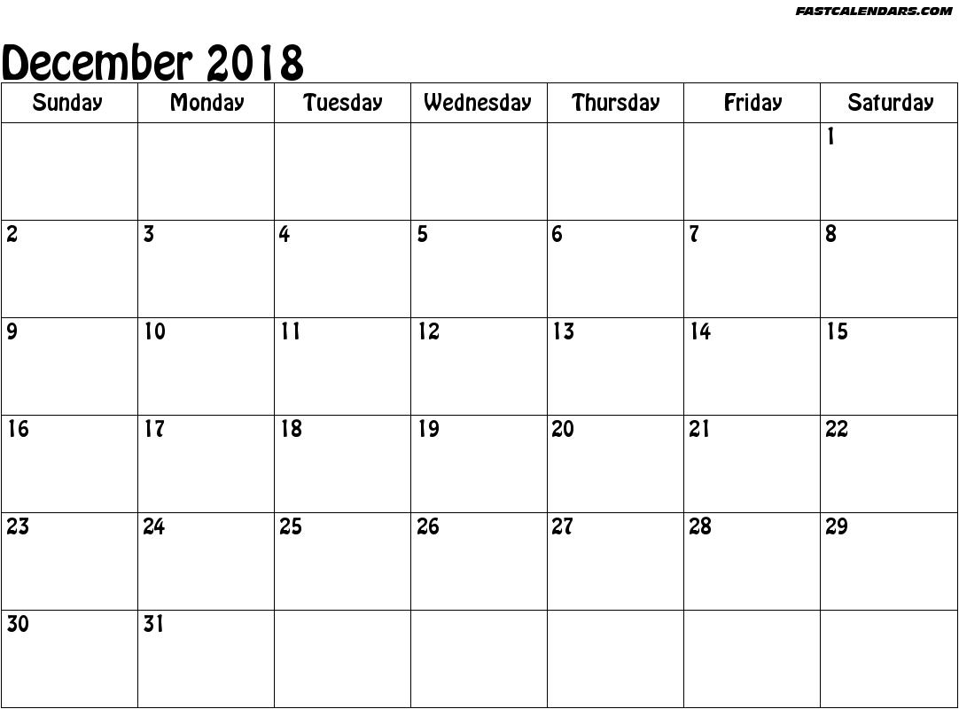 December 2018 Calendar Template Microsoft | Calendar | December for Blank Dec Calendar Pages