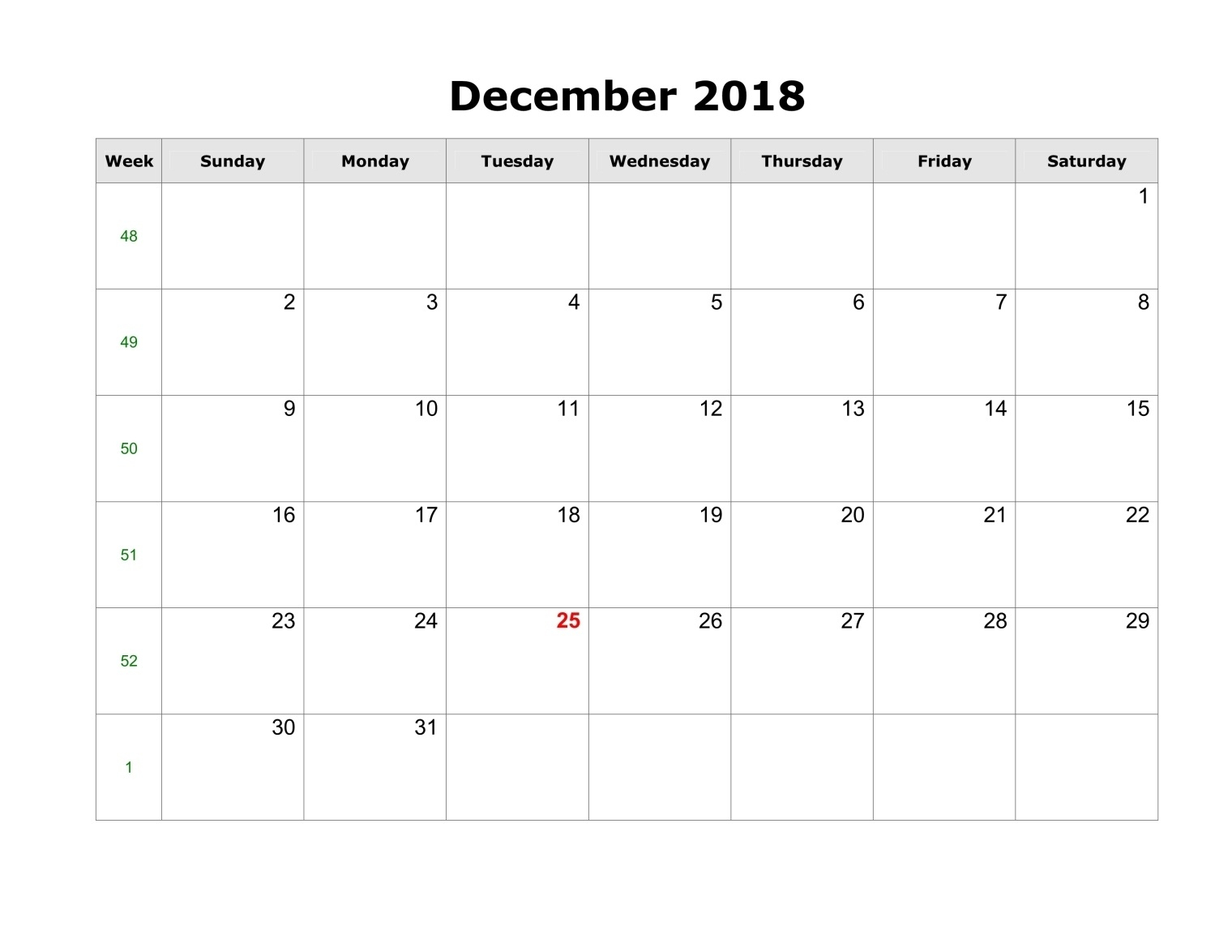 December 2018 Calendar Template Pdf, Word, Excel - Printable in Calendar With Holidays Printable Templates