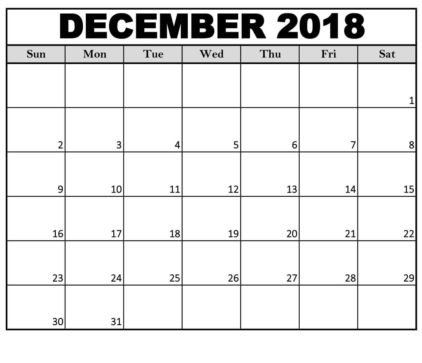 December 2018 #calendar Weekly #template | Printable Calendar with regard to Blank December Weekly Calander
