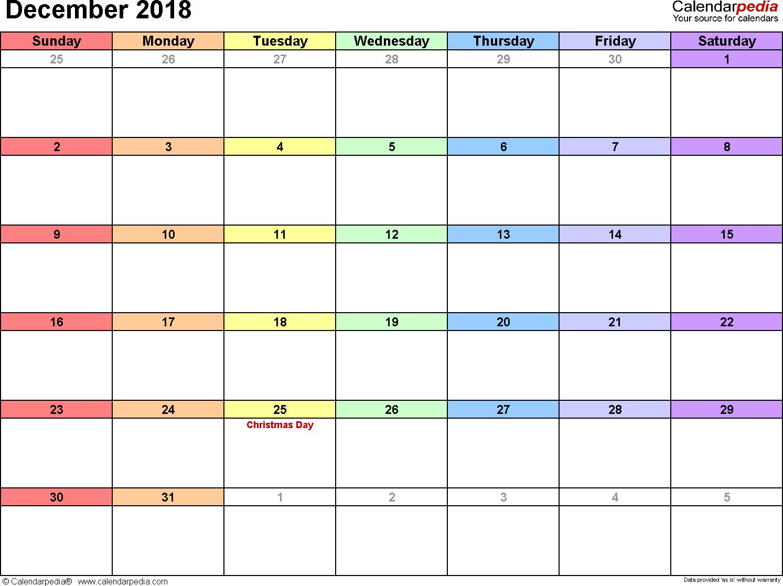 December 2018 Calendars For Word, Excel & Pdf throughout Calendar Planner Template Excel December