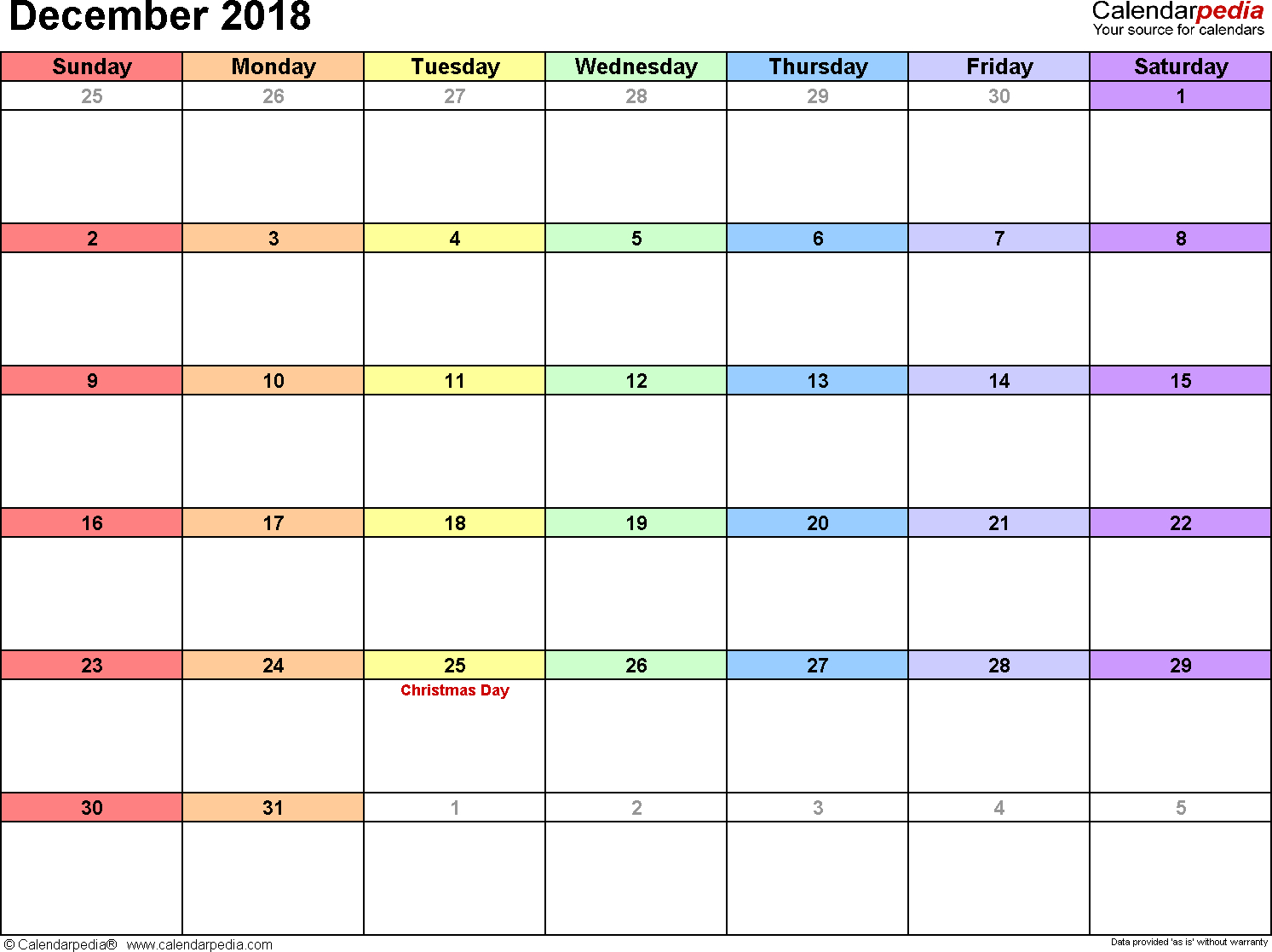 December 2018 Calendars For Word, Excel & Pdf within December Monthly Calendar Template