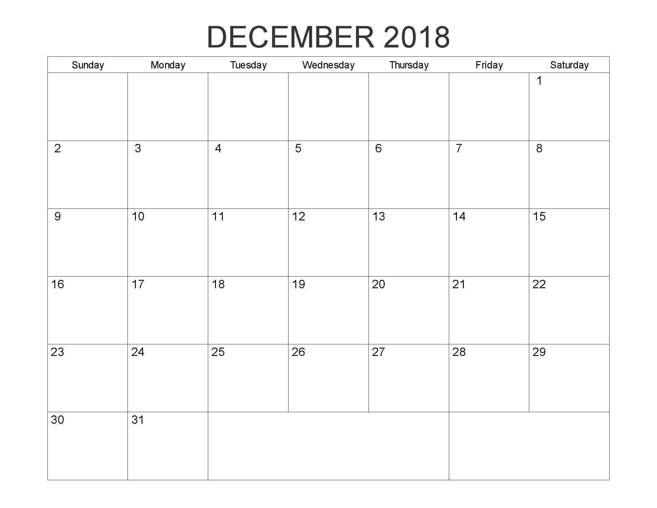 December 2018 Editable Word Calendar | 2018 Calendars | August Month for August - December Blank Calendar