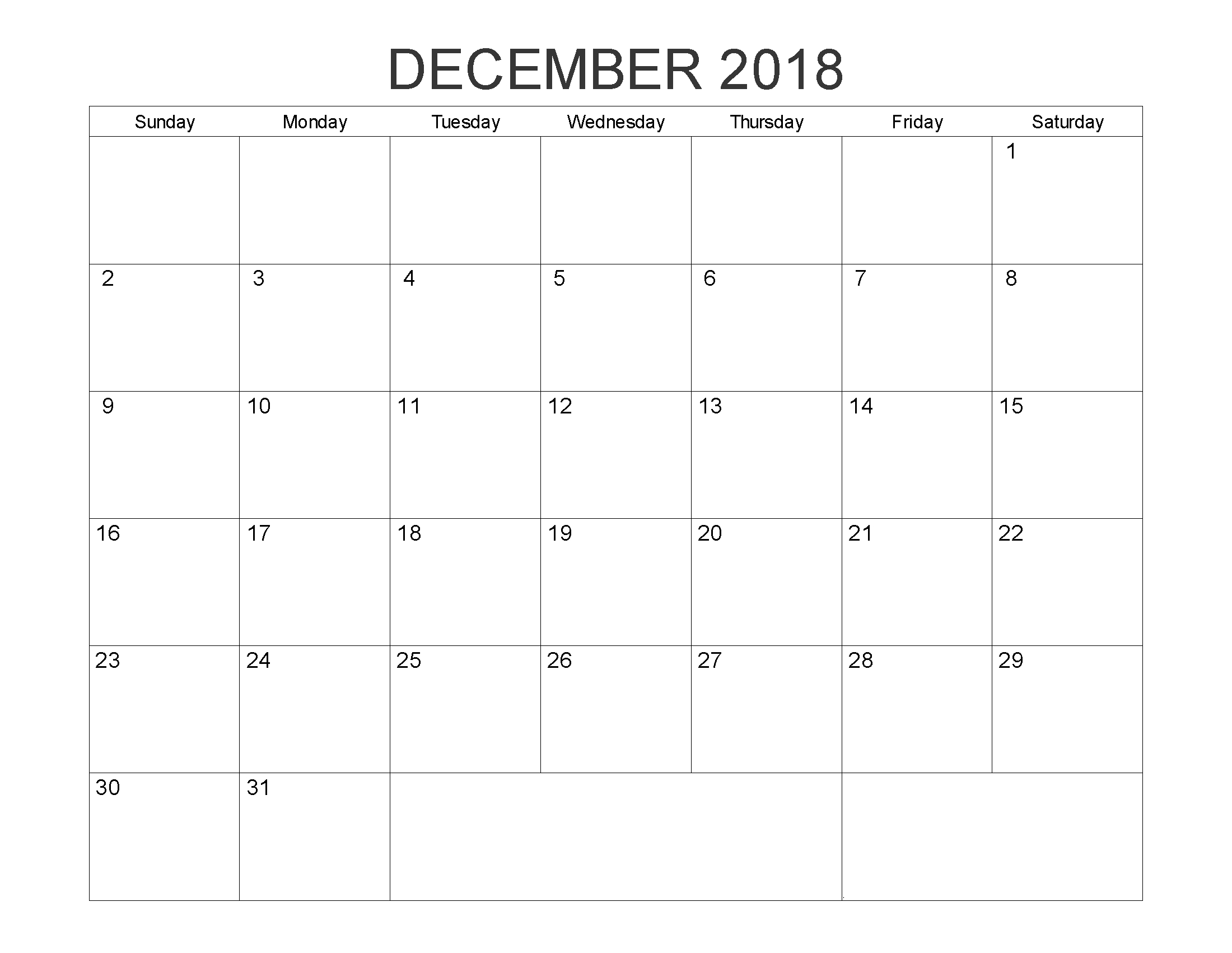 December 2018 Editable Word Calendar | 2018 Calendars | August Month throughout Blank Writable Calendar Template Large December Calendar Com