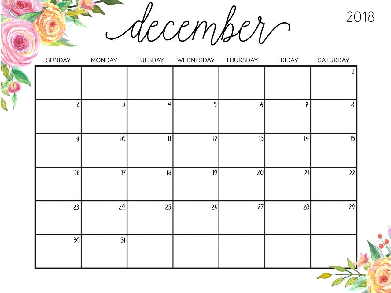 December 2018 Excel Calendar #decembercalendar with Calendar Planner Template Excel December
