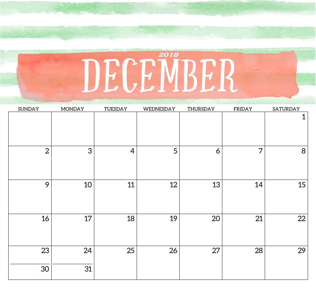 December 2018 Monthly Calendar Pdf - Printable Calendar 2019| Blank with regard to December Monthly Calendar Template