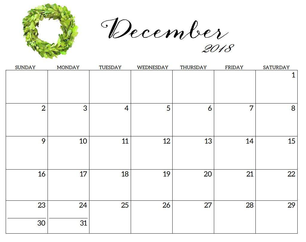 December 2018 Printable Blank Calendar | Calendars | December within Blank Calendar Printable December