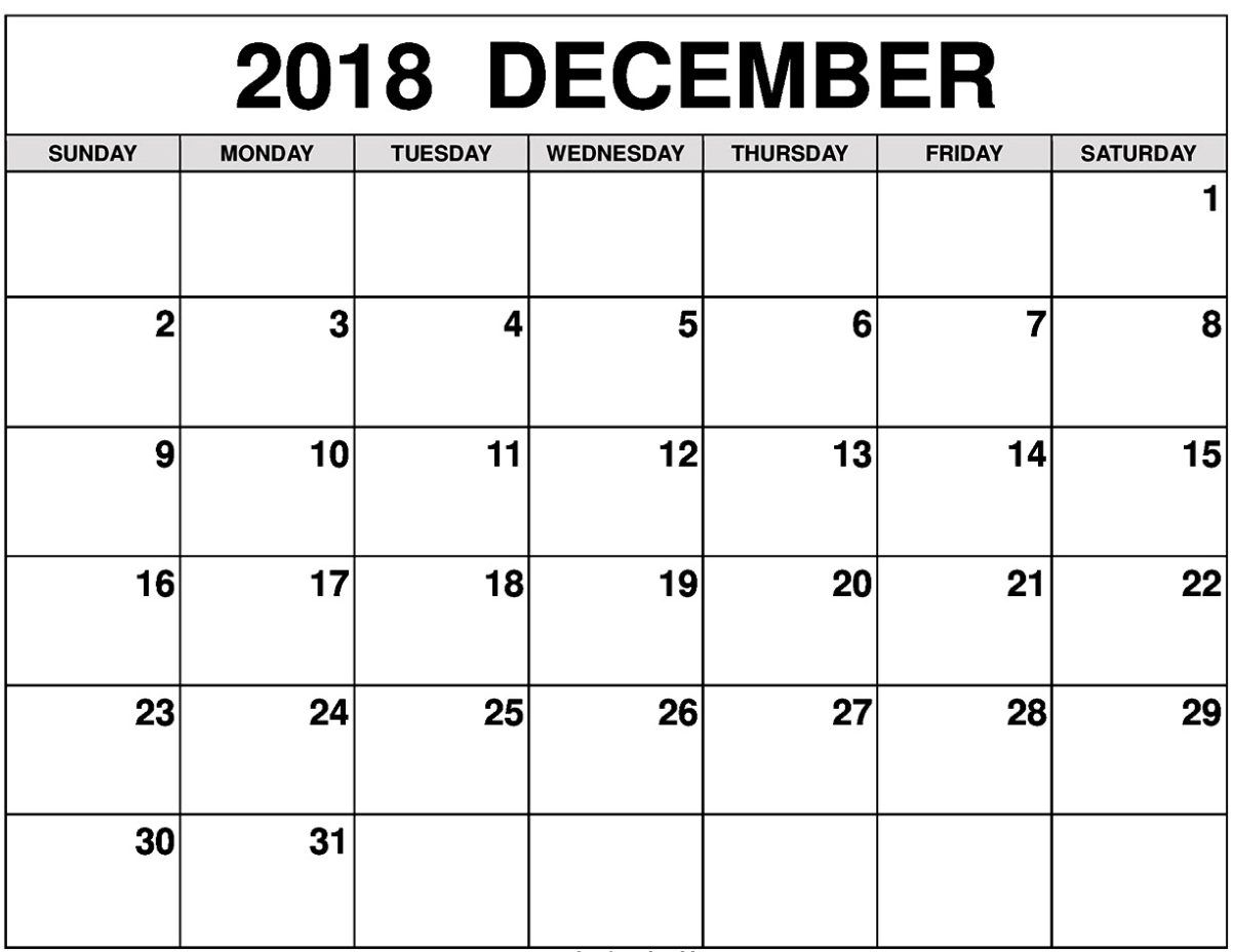 December 2018 Printable Calendar #decembercalendar2018Monthly throughout Blank Monthly Calendar Dec