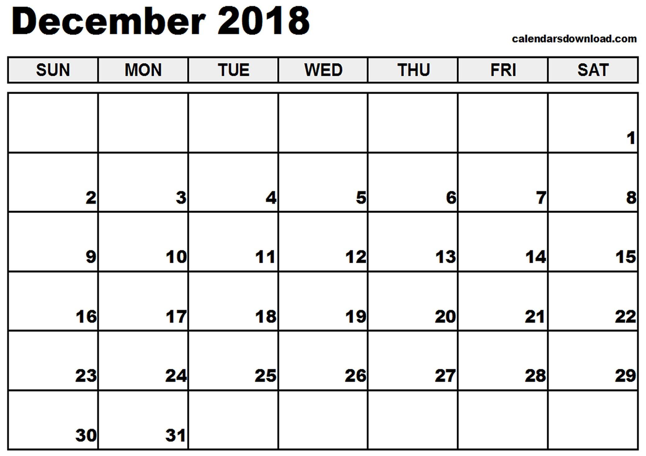 December 2018 Printable Calendar | Printable Calendar Monthly August with August - December Blank Calendar