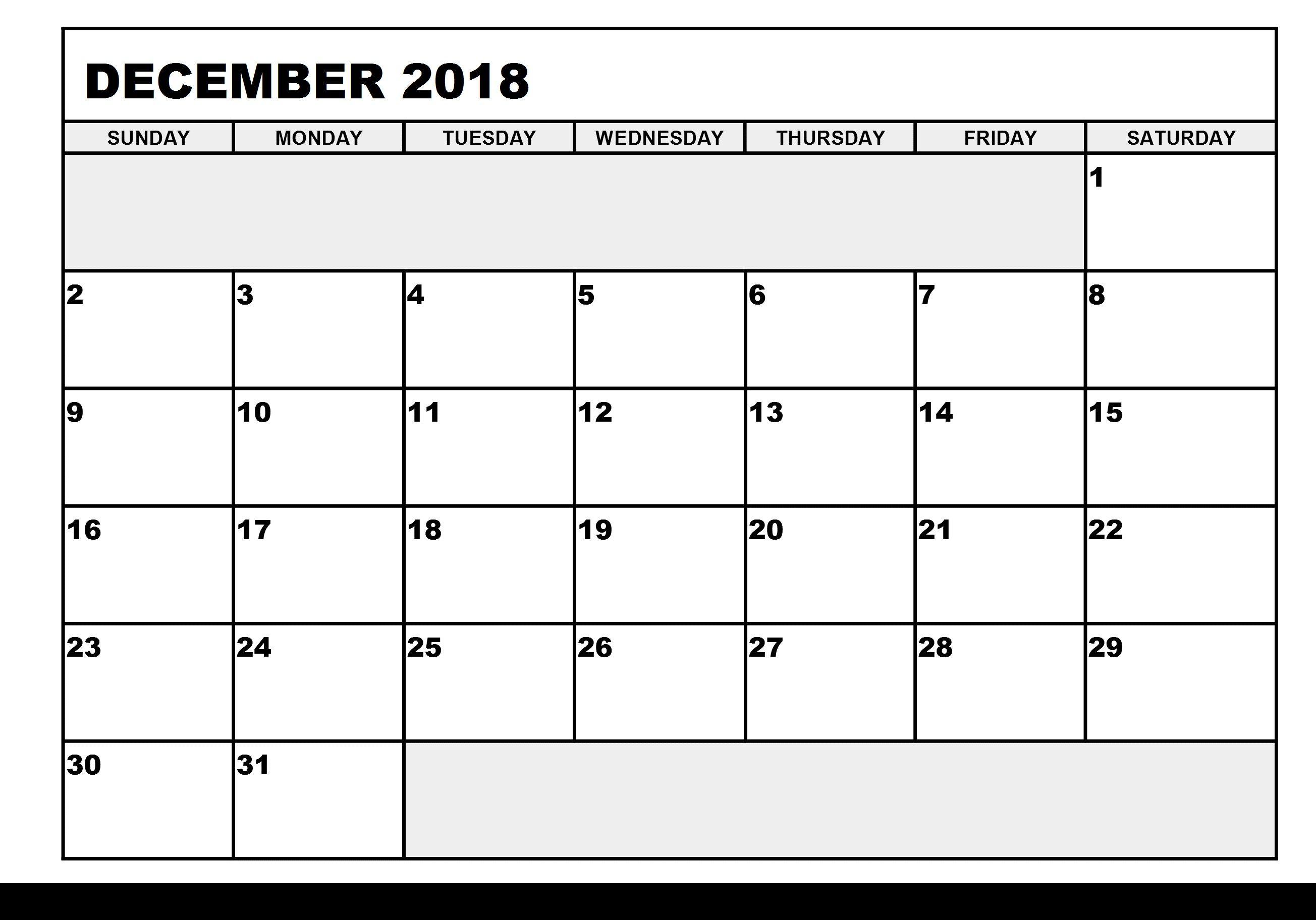 December 2018 Printable Calendar With Holidays   December 2018 within Calendar Planner Template Excel December