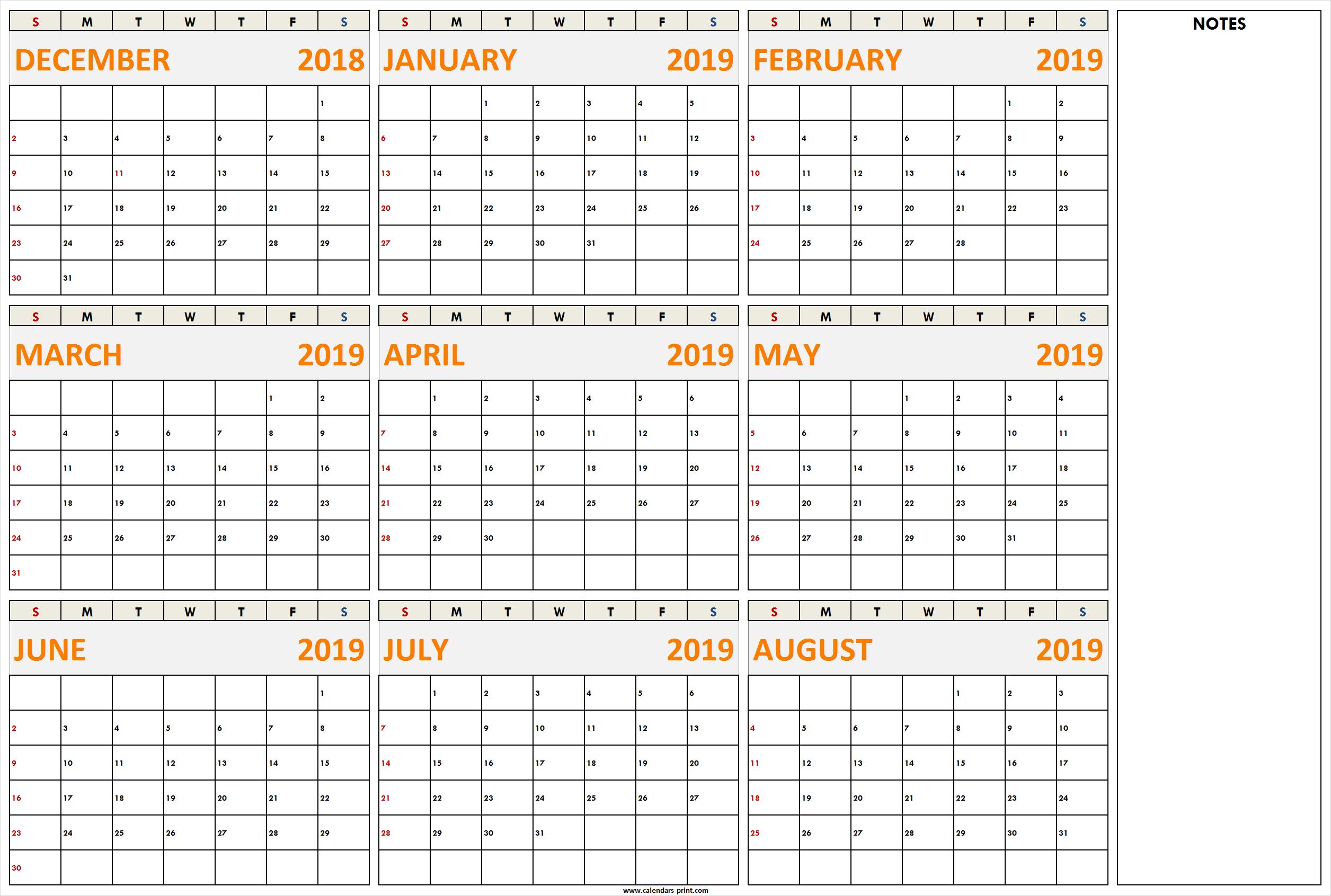 December 2018 To August 2019 Calendar Printable Template With Notes inside August-December Calendar Template