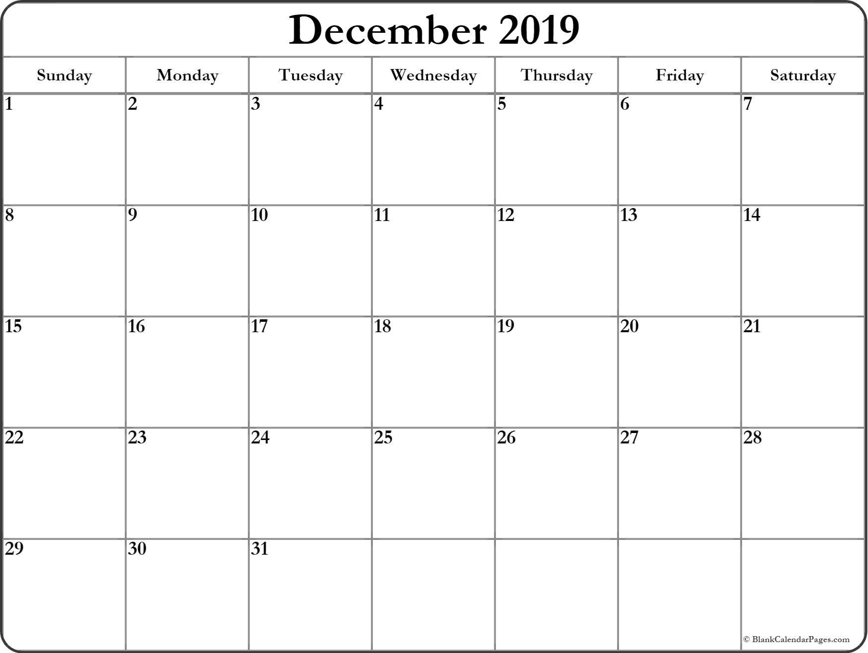 December 2019 Blank Calendar Templates. Within December 2019 throughout December Blank Calendar Page Printable