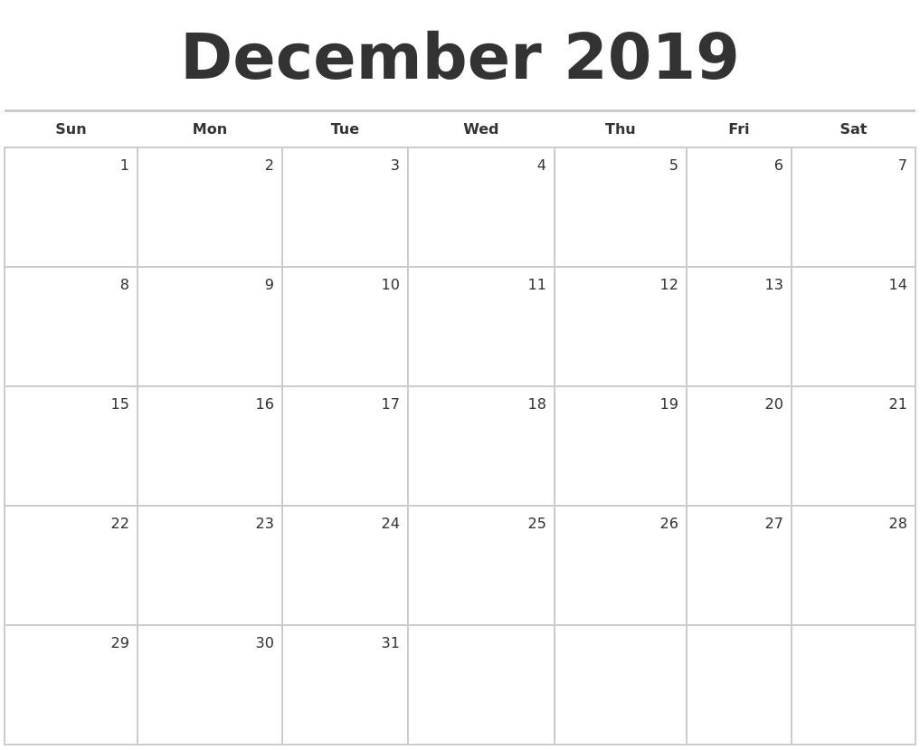 December 2019 Blank Monthly Calendar regarding December Blank Monthly Calendar