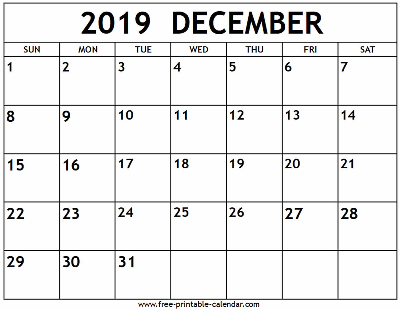 December 2019 Calendar - Free-Printable-Calendar with regard to Blank Calendar Template December