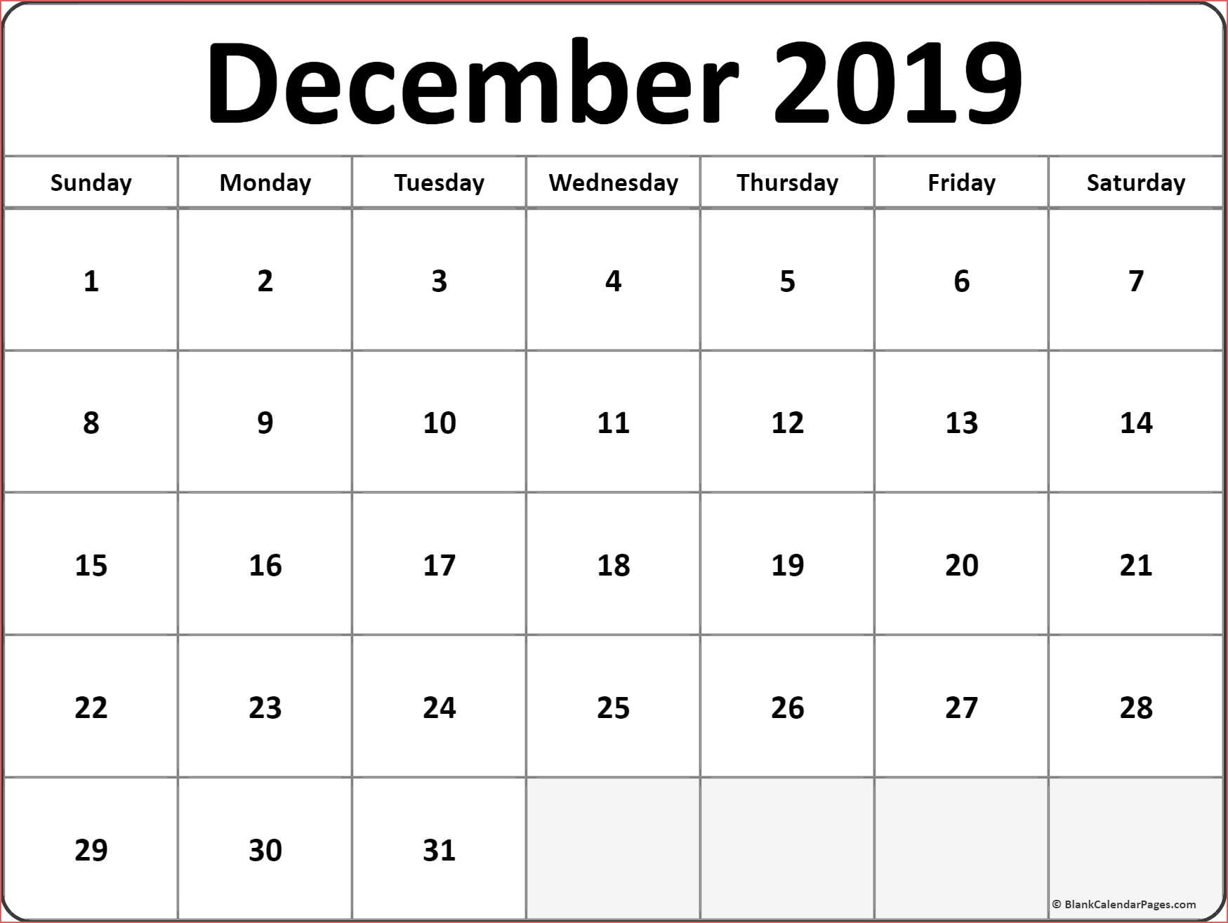 December 2019 Calendar Free Printable Monthly Calendars December pertaining to December Monthly Calendar Template