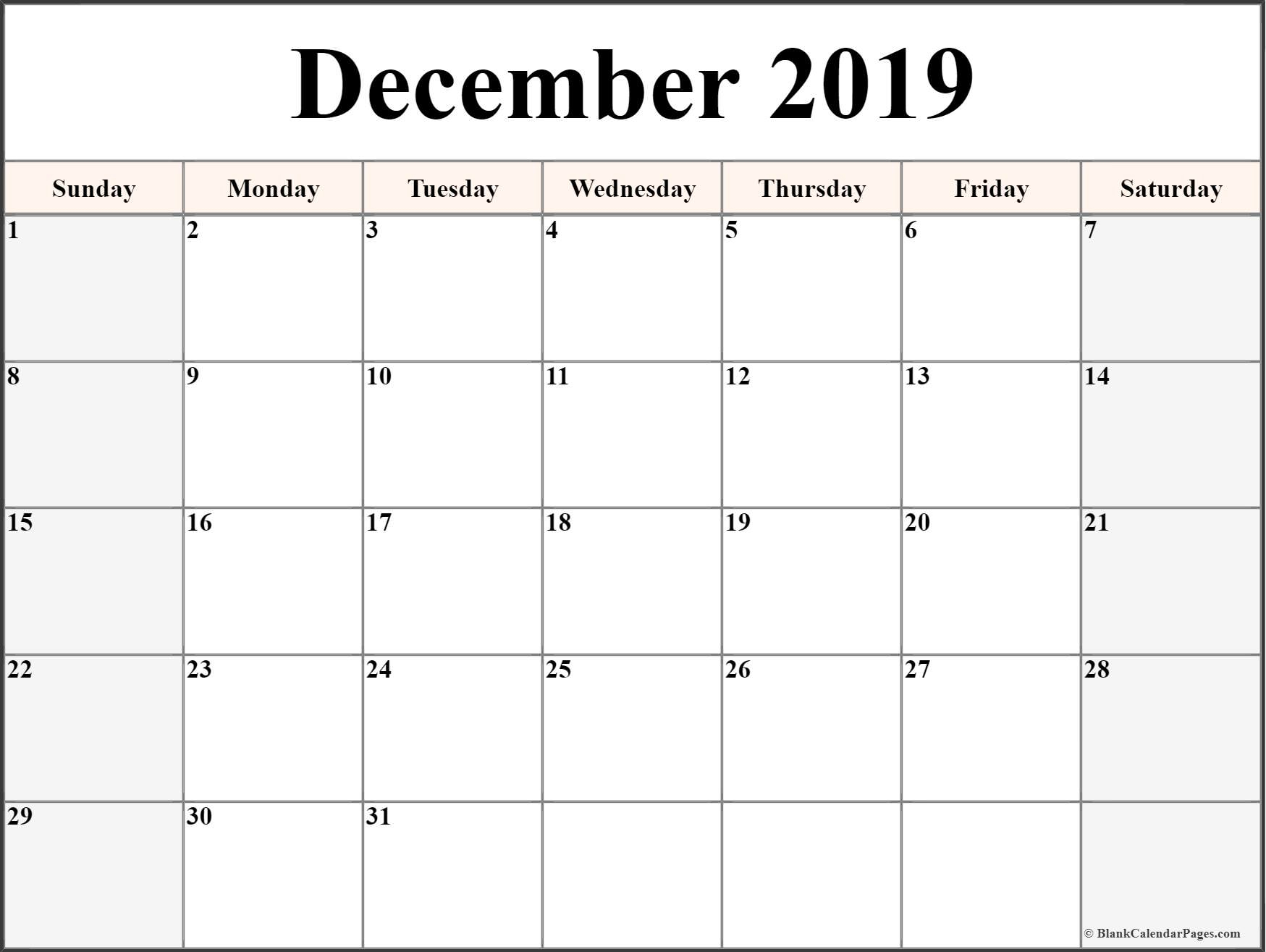 December 2019 Calendar | Free Printable Monthly Calendars with Blank Calendar Printable December