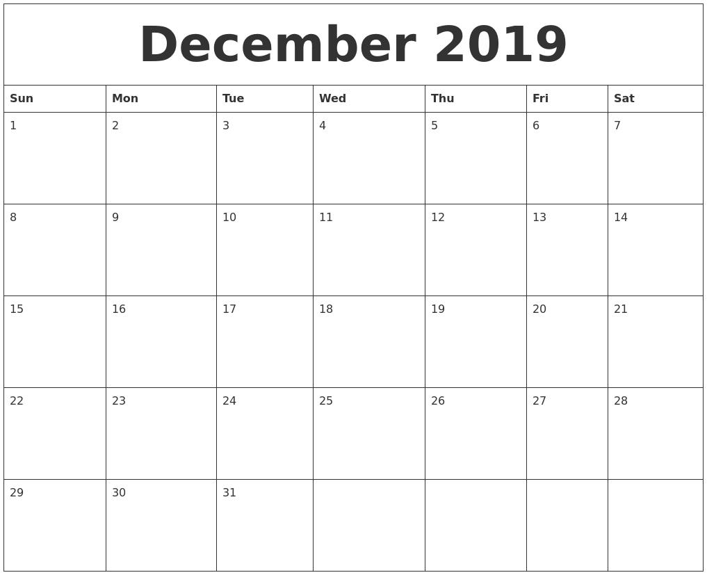 December 2019 Calendar regarding Blank Calendar For December
