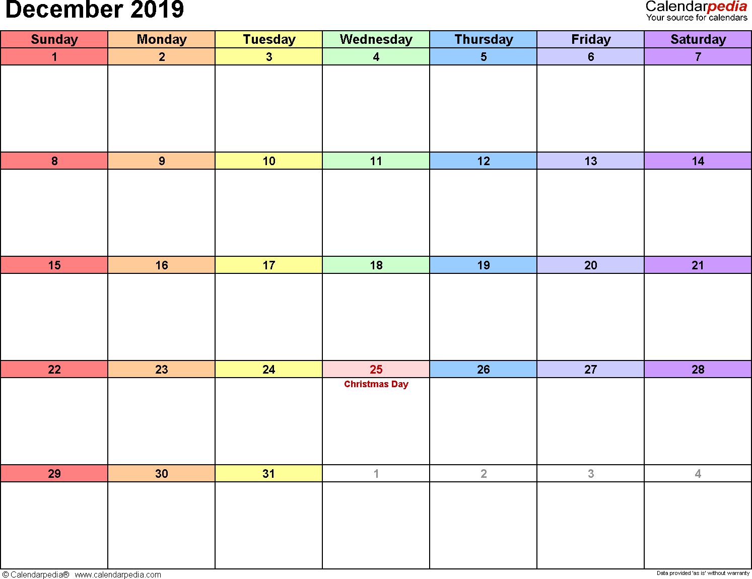 December 2019 Calendars For Word, Excel & Pdf for Monthly Calendar Template Printable December Start Monday