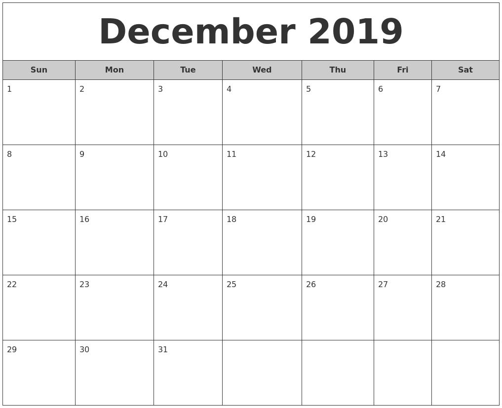 December 2019 Free Monthly Calendar intended for December Blank Calendar Printable