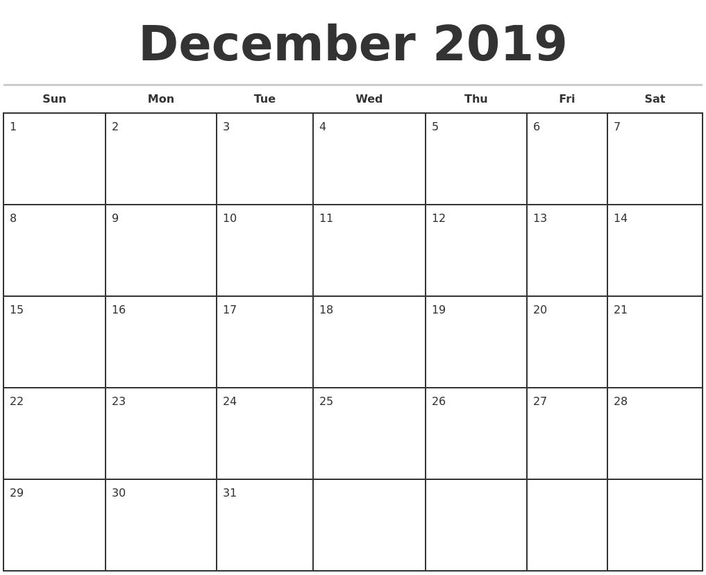 December 2019 Monthly Calendar Template pertaining to December Monthly Calendar Template