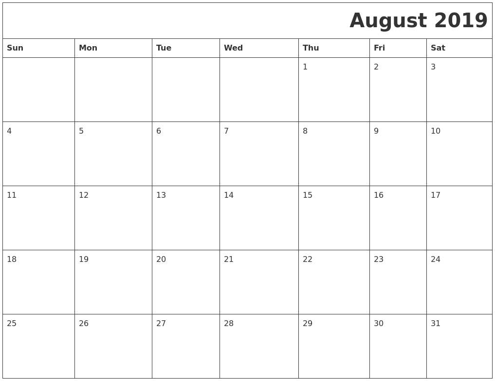 December 2019 Printable Blank Calendar Within 2019 Calendar August regarding August - December Blank Calendar