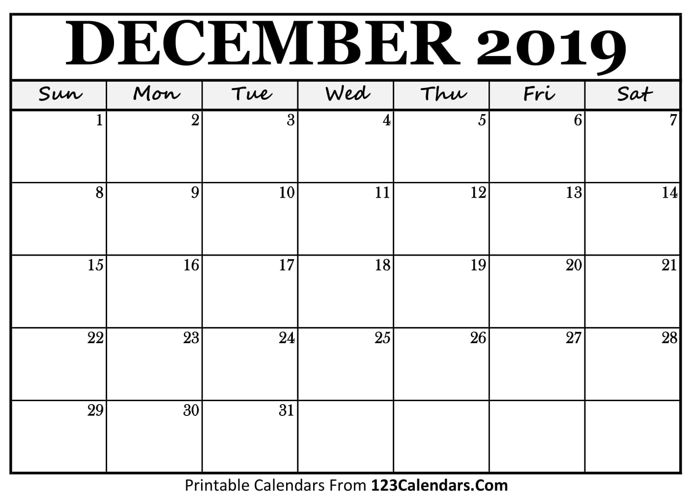 December 2019 Printable Calendar | 123Calendars inside Blank Monthly Calendar Dec