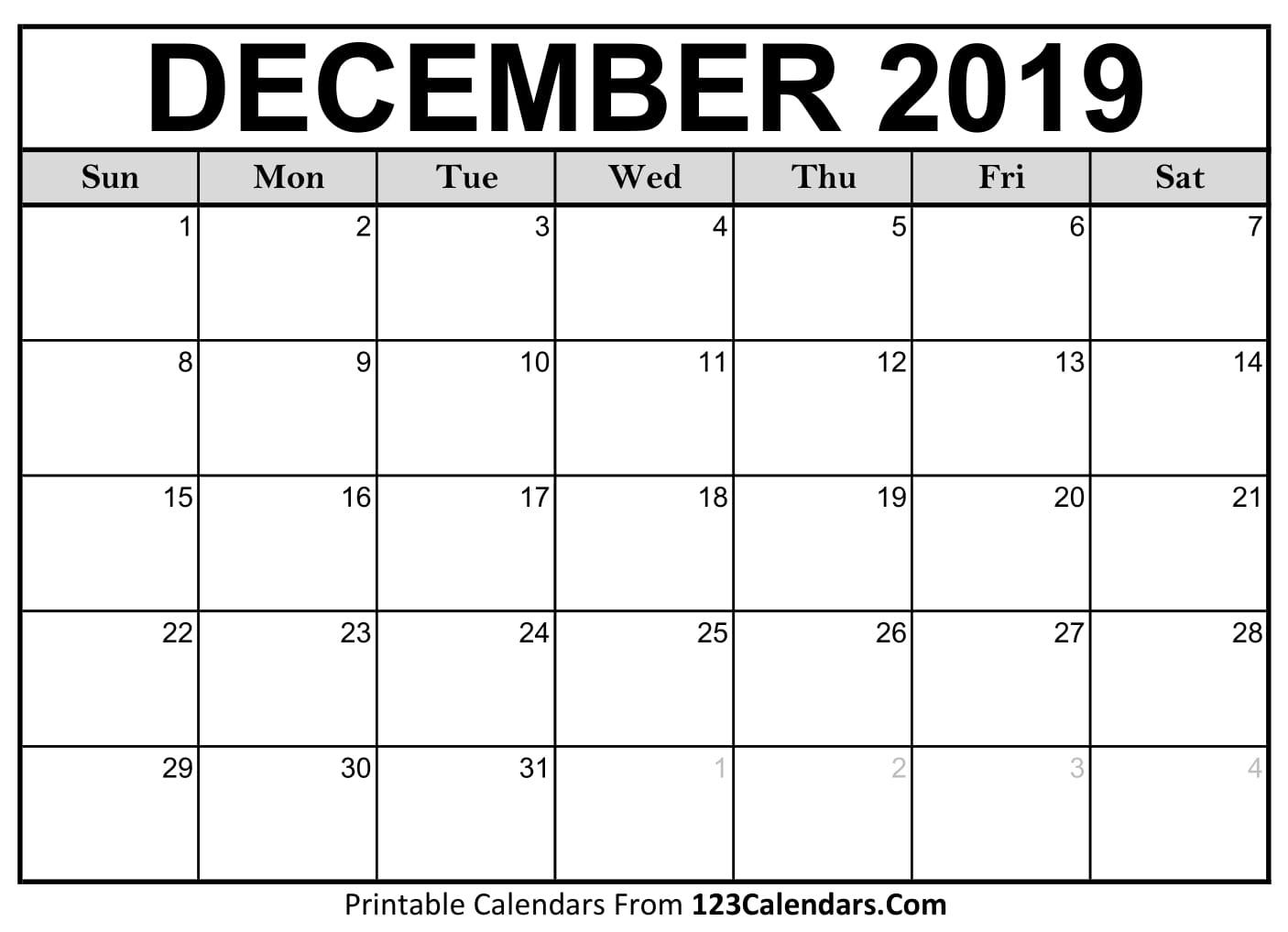 December 2019 Printable Calendar | 123Calendars intended for Blank Calendars December Printable