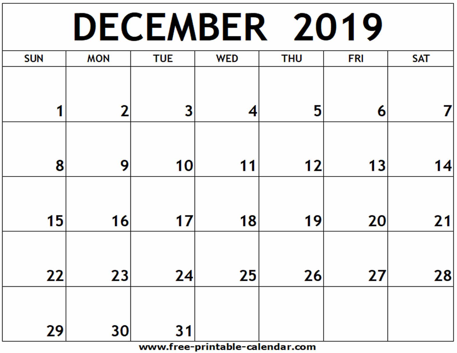 December 2019 Printable Calendar - Free-Printable-Calendar for Blank Calendar For December